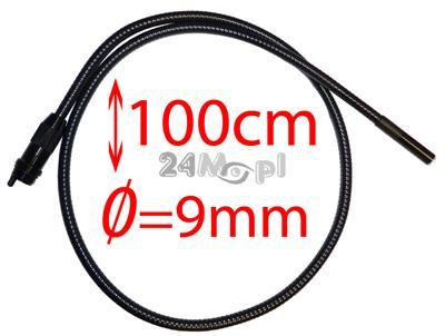 Przewód do kamer inspekcyjnych zakończony obiektywem o średnicy 9mm