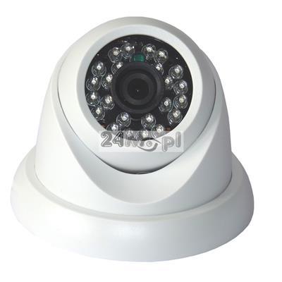 Wewnętrzna kamera kopułkowa FULL HD - 4 w 1 - model kompatybilny z systemami AHD, CVI, TVI i CVBS, szeroki kąt widzenia, 24 diody podczerwieni, MENU ekranowe