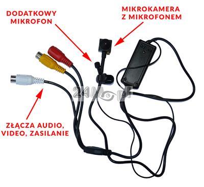 Mikrokamera cyfrowa AHD - doskonałe narzędzie monitoringu szpiegowskiego, jakość HD, 2 wbudowane mikrofony, szeroki kąt widzenia