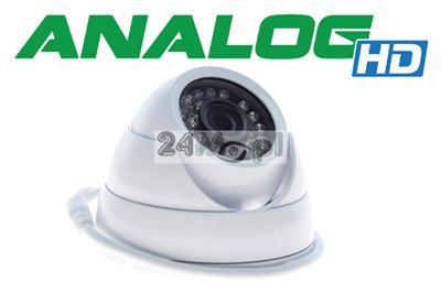 Solidna, zewnętrzna kamera kopułkowa wykonana w technologii AHD - cyfrowa rozdzielczośc obrazu [HD] za analogową cenę, przetwornik 1.3 MPX SONY, 24 diody IR