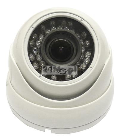 Zewnętrzna kamera kopułkowa AHD 4 MPX [2688 x 1520] - markowe podzespoły SONY i NEXTCHIP, regulowany obiektyw 2,8 - 12 mm, 36 diod podczerwieni, norma szczelności IP66