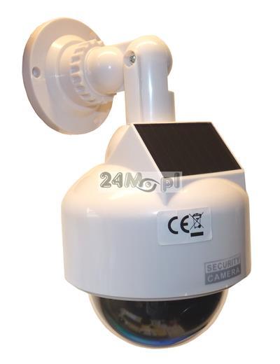 Atrapa kamery obrotowej PTZ z diodą sygnalizującą pracę [na baterie i/lub panel solarny] - do zastosowań wewnętrznych