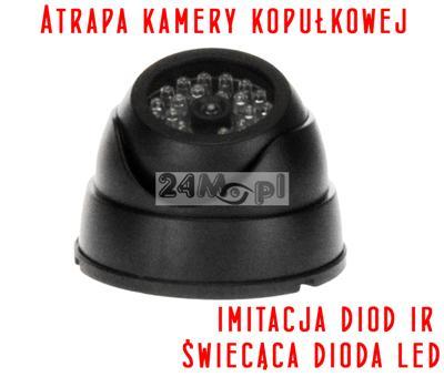 Atrapa wewnętrznej kamery kopułkowej z diodą LED sygnalizującą pracę