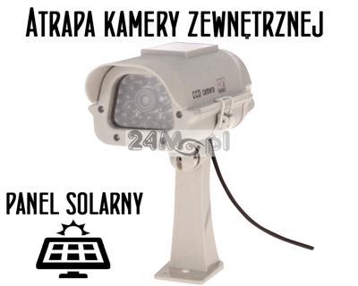 Atrapa kamery zewnętrznej z podczerwienią, wbudowana dioda LED na zasilanie solarne [lub bateryjne]