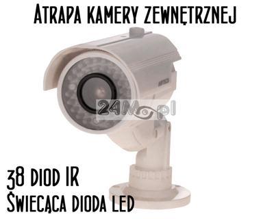 Atrapa kamery zewnętrznej - imitacja 38 diod podczerwieni, dioda LED sygnalizująca pracę, solidne wykonanie