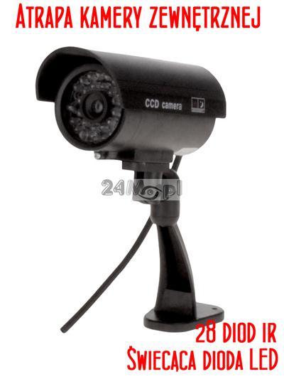 Atrapa zewnętrznej kamery z imitacją podczerwieni i diodą syganlizującą pracę - NIE DO ROZPOZNANIA!
