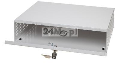 Stalowa obudowa do bezpiecznego przechowywania rejestratorów o wymiarach 405x303x120 mm