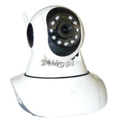 Obrotowa kamera IP HD z wbudowanym modułem WiFi - praca w chmurze, wbudowany mikrofon i głośnik, 11 diod podczerwieni