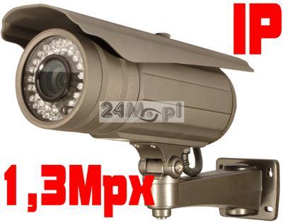 Zewnętrzna kamera IP 1,3MPX megapikselowa, 42 diody IR, H.264 25kl/s 1280x720, ONVIF