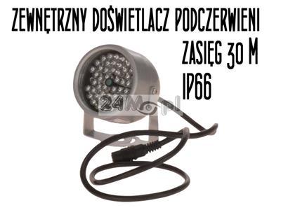 Zewnętrzny doświetlacz - promiennik podczerwieni - zasięg IR do 30 metrów, hermetyczna obudowa, niski pobór mocy
