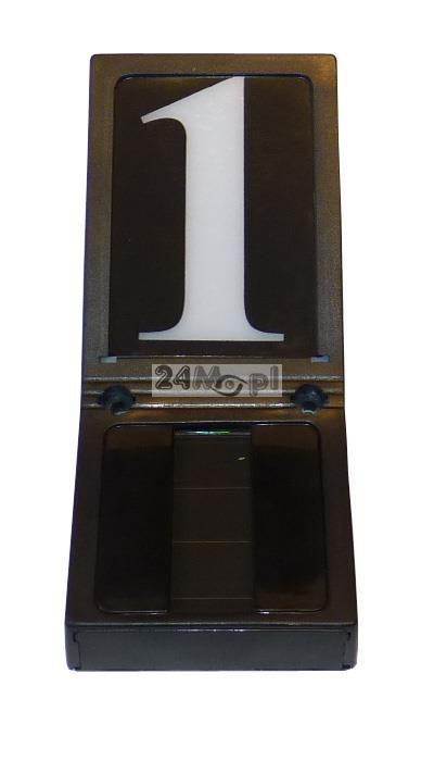 Podświetlany panel LED z numerem domu (budynku) - zasilanie bateryjne, wbudowany panel solarny i czujnik zmierzchowy