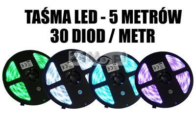 Taśma LED RGB o długości 5 metrów, 30 diod/metr, jasność SMD 5050, norma szczelności IP65