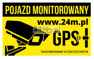 Naklejka [nalepka] ostrzegawcza POJAZD MONITOROWANY o wymiarach 20 x 12 cm - idealna do zastosowań na samochodach z monitoringiem wizyjnym lub GPS