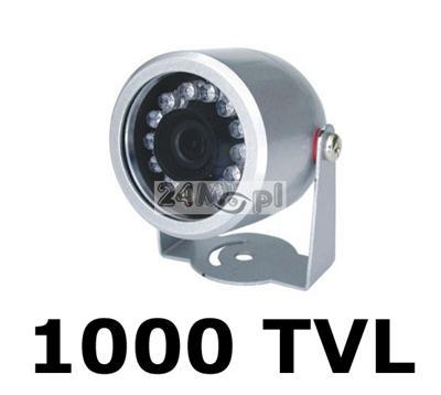MINI kamera zewnętrzna - przetwornik SHARP, 1000 linii, szeroki kąt widzenia (90 stopni), 12 diod podczerwieni, hermetyczna obudowa