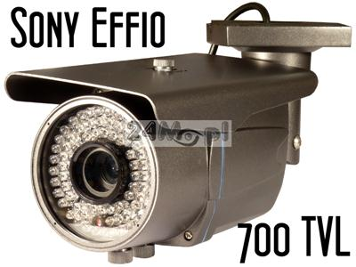 Kamera zewnętrzna w solidnej obudowie - SONY EFFIO 700 linii, obiektyw regulowany 2,8 - 12mm, 72 diody IR, MENU ekranowe, solidne wykonanie!