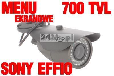 Kamera zewnętrzna w solidnej obudowie - SONY EFFIO 700 linii, obiektyw regulowany 2,8 - 12mm, 72 diody IR, MENU ekranowe - BLC, HLC, PRIVACY...