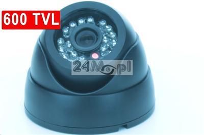 Wewnętrzna kamera kopułkowa dzień/noc, czarna obudowa, kolor, 600 TVL, CMOS, 24 diody podczerwieni