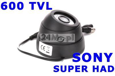 Wewnętrzna kamera kopułkowa - estetyczna obudowa, SONY SUPER HAD, rozdzielczość 600 linii, szeroki kąt widzenia