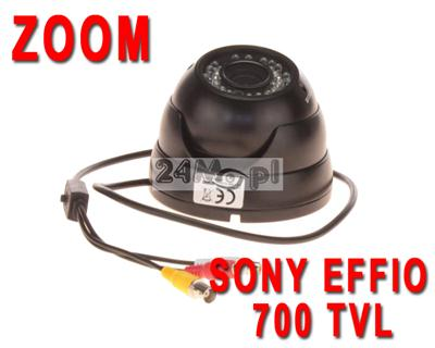 Zewnętrzna, solidna kopuła z AUDIO - 1/3 CCD SONY EFFIO, obiektyw 2,8 - 12 mm, 36 zintegrowanych diod IR, OSD
