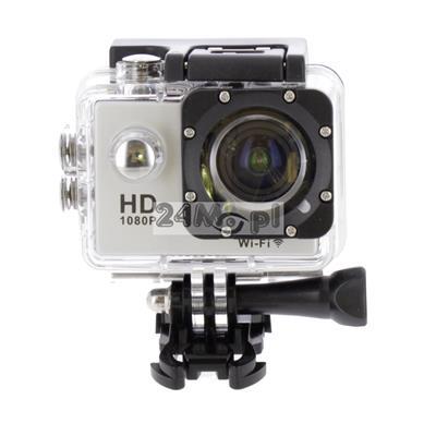 Sportowa kamera FULL HD z wbudowanym modułem WiFi - tryb VIDEO i FOTO, zapis z prędkością do 60 klatek / sekundę, kąt widzenia 140 stopni, wbudowany mikrofon, wodoszczelna obudowa, uchwyty i mocowania