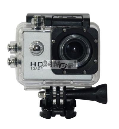 Sportowa kamera FULL HD - tryb VIDEO 60 klatek/sekundę, tryb FOTO [do 12 MPX], kąt 170 stopni, wbudowany mikrofon, wodoodporna obudowa [do 30 metrów] oraz inne akcesoria
