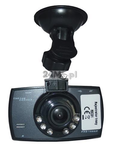 Rejestrator trasy do samochodu - tryb VIDEO (rozdzielczość 1080P - FULL HD) i FOTO (rozdzielczość do 12 MPX), wbudowany mikrofon, szeroki kąt widzenia, zasilanie 12 V