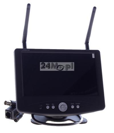 Odbiornik do kamer bezprzewodowych z LCD 7 cali - funkcja rejestracji na kartach SD (do 64 GB), jakość HD, płynny ruch, dostęp zdalny przez Internet