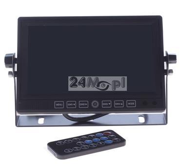 4 - kanałowy rejestrator cyfrowy z wbudowanym wyświetlaczem LCD 7 cali, zasilanie 12 - 24 V, możliwość zapisu dźwięku
