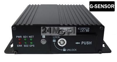 4 - kanałowy rejestrator mobilny do monitoringu pojazdów, G-SENSOR, zapis na dwóch kartach SD [do 128 GB każda], 9 - 36V, tryb AHD i analog