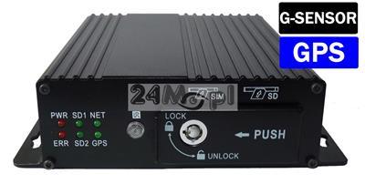 4 - kamerowy rejestrator mobilny do monitoringu pojazdów, G-SENSOR, zapis na dwóch kartach SD [do 128 GB każda], wbudowany moduł GPS, zasilanie 9-36 V, tryb AHD i analog