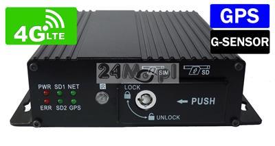 4 - kanałowy rejestrator mobilny do monitoringu pojazdów - podgląd obrazu z kamer i sygnału GPS ONLINE przez sieć GSM, wsparcie dla standardu 4G LTE, profesjonalny system do każdego typu pojazdów