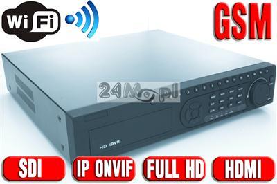 Cyfrowy rejestrator hybrydowy - obsługa kamer IP (standard ONVIF) oraz SDI, płynny ruch w rozdzielczości FULLHD, WiFi, GSM, HDMI, VGA, LAN