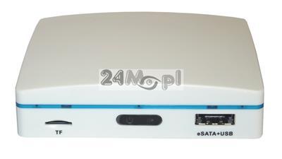 4 - kanałowy rejestrator hybrydowy do monitoringu - wsparcie dla systemów AHD i IP, zapis na dyskach zewnętrznych USB / eSATA oraz kartach microSD, miniaturowa obudowa