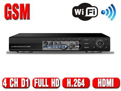 HIT! Rejestrator hybrydowy 4 - kanałowy - nowoczesny design, wyświetlacz LCD, ONVIF, FULL HD, HDMI, H.264, płynny ruch, 4 wejścia AUDIO, WiFi, GSM,  ZOOM CYFROWY