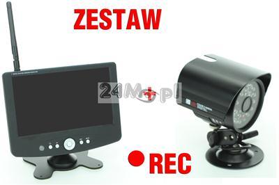 Zestaw do samodzielnego montażu - kamera bezprzewodowa + odbiornik z rejestratorem i wyświetlaczem LCD