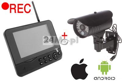 Zestaw do samodzielnego montażu - kamera bezprzewodowa + odbiornik z rejestratorem i wyświetlaczem LCD, dostęp zdalny przez telefony komórkowe!