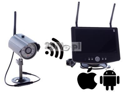 Zestaw do monitoringu wizyjnego - kamera FULL HD i odbiornik z wbudowanym wyświetlaczem 7 cali, kodowana cyfrowo transmisja na odległość do 200 metrów, zapis na kartach SD (128 GB)