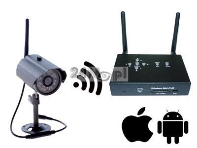 Bezprzewodowy zestaw do monitoringu wizyjnego - kamera i odbiornik z funkcją rejestratora, zapis na kartach SD, kodowana cyfrowo transmisja danych, pełny dostęp zdaalny
