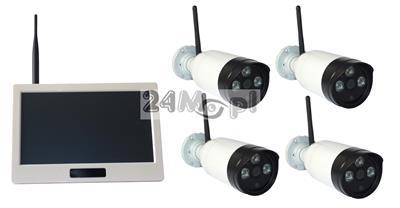 4 kamery i odbiornik z wyświetlaczem LCD 10,1 - zestaw bezprzewodowy do monitoringu, FULL HD, dzień / noc, podgląd zdalny przez telefon lub tablet [Android, Apple iOS]