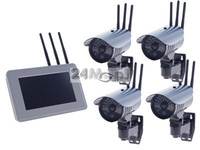 Zestaw do monitoringu wizyjnego - 4 kamery bezprzewodowe i odbiornik LCD 7, jakość HD, zapis na zewnętrznych dyskach twardych, zasięg do 300 metrów