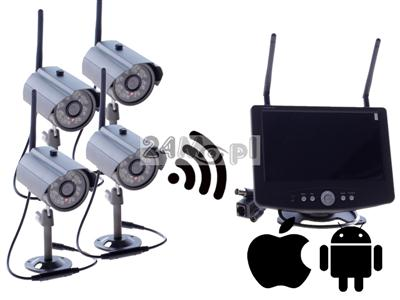 Zestaw bezprzewodowy do monitoringu - 4 kamery, odbiornik z wyświetlaczem LCD 7 cali, zapis na kartach SD (do 64GB), dostęp zdalny przez telefony i tablety