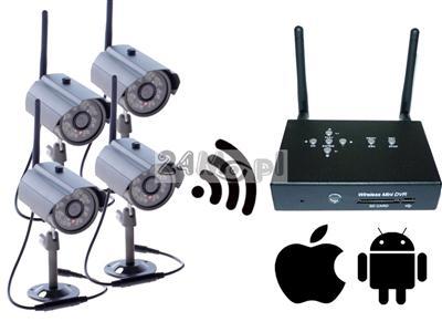 Zestaw do monitoringu bezprzewodowego - 4 kamery, miniaturowy odbiornik z zapisem na SD, jakość HD, kodowana cyfrowo transmisja
