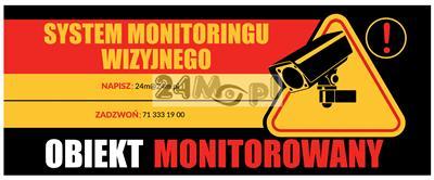 Tabliczka ostrzegawcza OBIEKT MONITOROWANY o wymiarach 30 x 12 cm - solidne wykonanie (pleksi), odporność na działanie warunków atmosferycznych