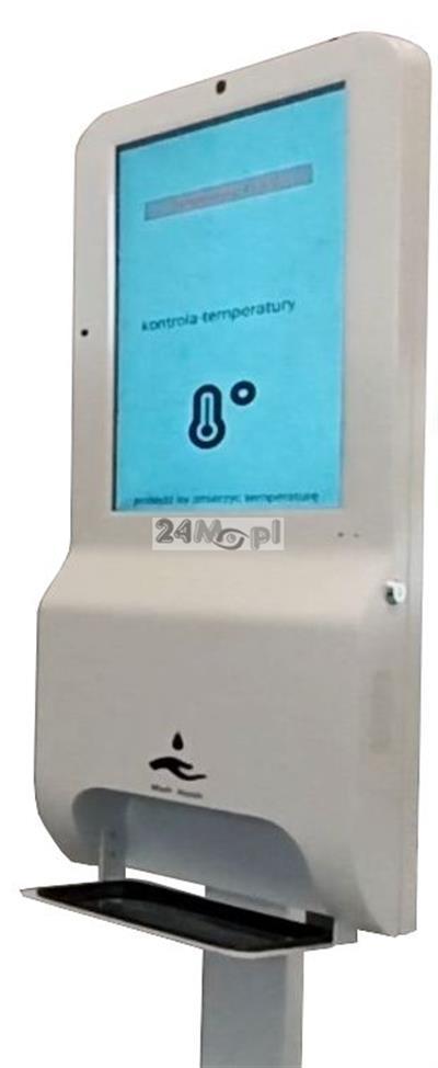 Multimedialny kiosk termowizyjny - w pełni zautomatyzowany i bezobsługowy system kontroli temperatury w wersji PREMIUM, wbudowany dozownik płynu dezynfekcyjnego, dodatkowa funkcja kiosku multimedialne